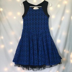 Black and blue lace kids dress